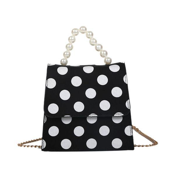 Women Fashion Dot Printed Pearl Cover Cross Body Bag PU Leather Mini Female Phone Shoulder Bag Handbags Bolsas Feminina A40