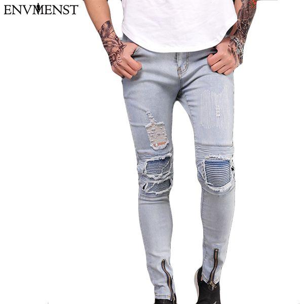 Envmenst 2018 Brand Mens Flower Patchwork Slim Straight Denim Pants Male Casual Ripped Long Trousers Men Hiphop Skinny Jeans