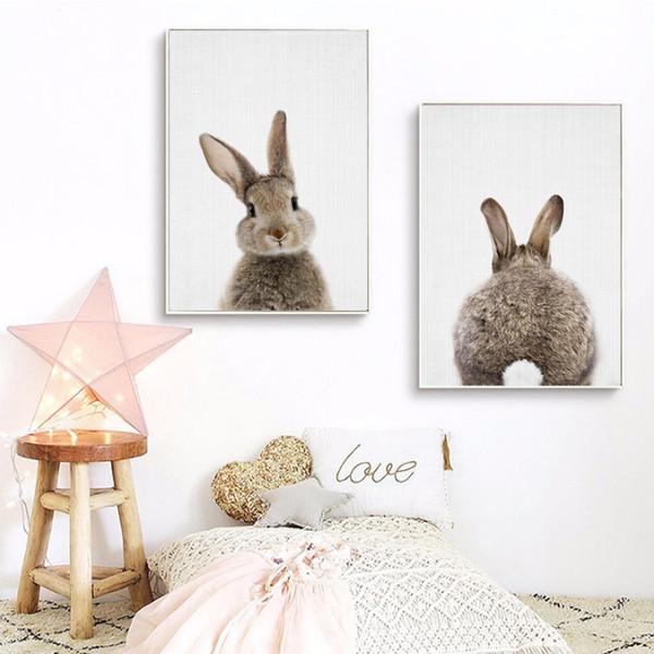 Kawaii Animals Cartoon Canvas Painting Rabbit Posters Prints Nordic Minimalist Nursery Wall Art Picture for Kids Room Home Decor