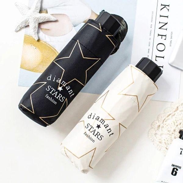 Mini paraguas plegable cinco / Revestimiento negro / Estrella / soleado y lluvioso / Paraguas publicitario / Logo de impresión / ligero y conveniente / moda /