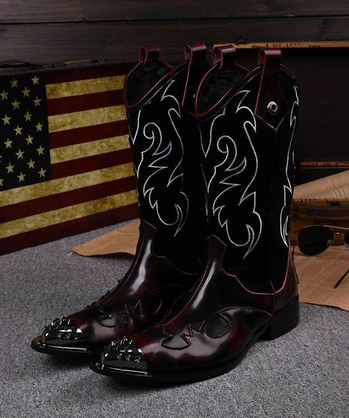 2018 Super Cool Man's Boots Man's Motorcycle Boots Steel Pointed Toe Cowboy Boots Man Shoes Long Size 38-46