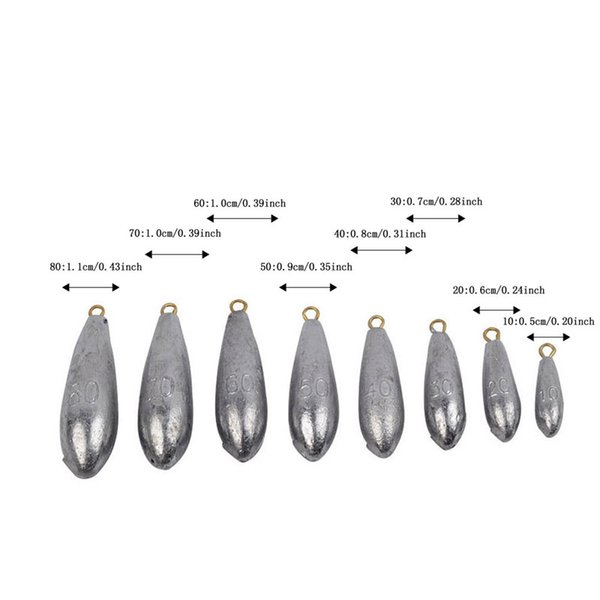 New Ocean Boat Fishing Lead Sinkers Plummet Saltwater Waterdrop Design Hot Fishing Accessories