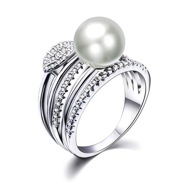 New Leaf ring with big Pearl Trendy White cheap jewellery wholesale dropshipping anel aneis female jewelry brass rings