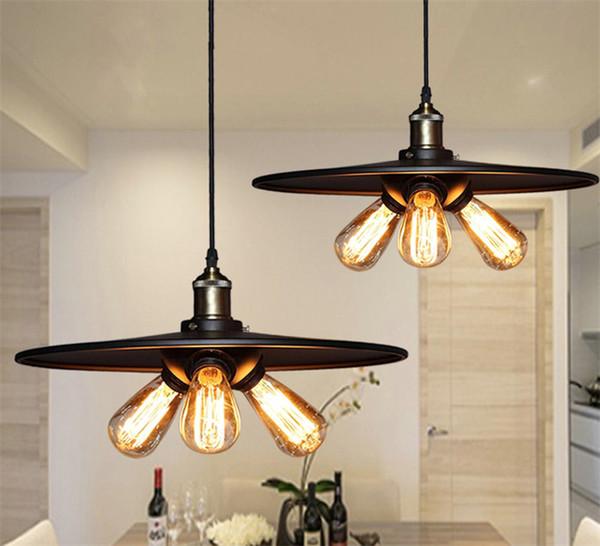 Triple Vintage Industrial Edison Pendant Light 3 Bulbs Suspension Light New Design For Living Room Dinning Room Bar Coffee B098 Stained Glass Pendant