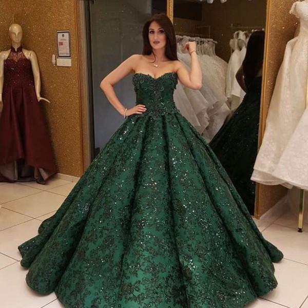 Stunning Hunter Green Evening Dress Luxury Dubai Sequins Beaded Ball Gowns Red Carpet Dress Sweetheart Appliqued Saudi Arabia Prom Dress