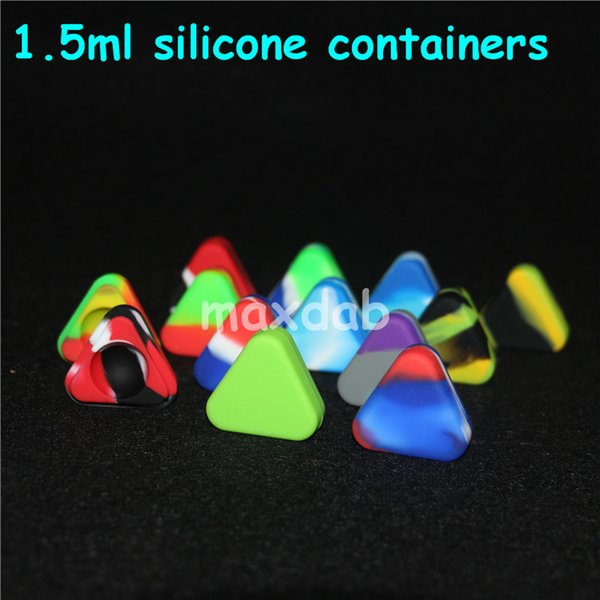 Wholesale nonstick Triangle Silicone Wax Container Box 1.5ml Silicone Jars Dry Herb Wax Box Container Dab free shipping