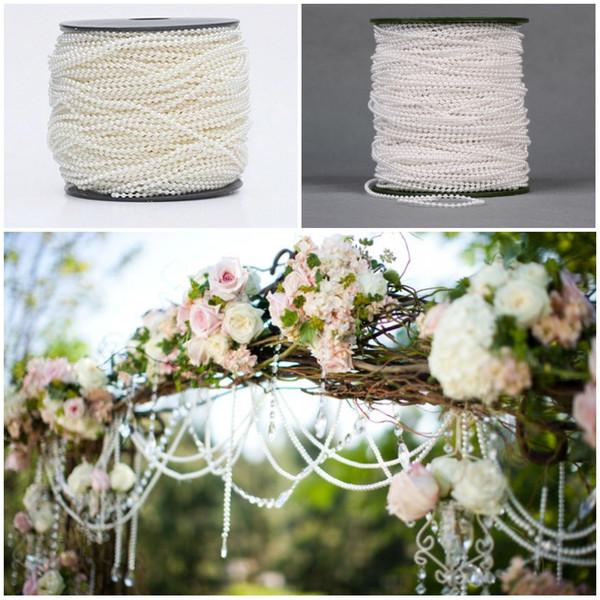 2.5mm 100m ABS plastica perla finta perline catena filo cotone linea nozze decorazioni per feste bianco / beige festival artigianato D883L