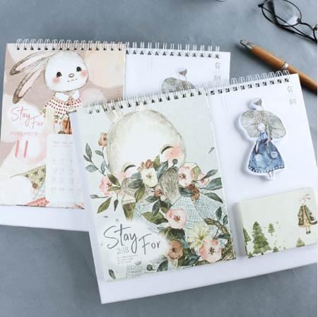 top popular 1 Pcs set Kawaii 2018 multi-function desk calendar cartoon illustration rabbit Desktop large Calendar Scheduler Planner 2020