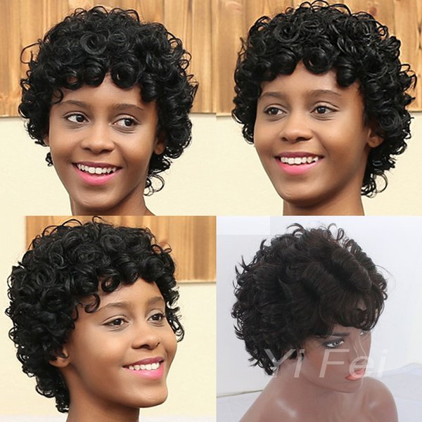 Short Black lace front wigs Curly Hairstyle 100% human Hair full lace Wigs For Black Women