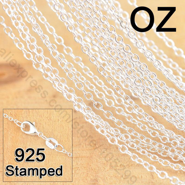 50Pcs 18 20 22 Inch 925 Sterling Silver Jewelry Link Rolo Chains Necklace With Lobster Clasps Women Jewlery Factory Price Stock