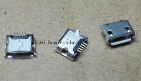 best selling 100pcs Micro USB 5P,5-pin Micro USB Jack,5Pins Micro USB Connector Tail Charging socket 5pin