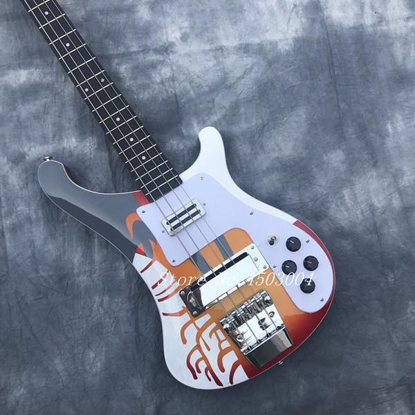 Guitare basse électrique modèle spécial 2018 avec pickguard blanc, touche en palissandre, accessoires en chrome, offre personnalisée