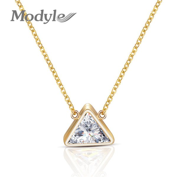 Modyle Crystal Triangle Necklace Pendants For Women Gold Chain Stainless Steel Triangle Choker Necklace