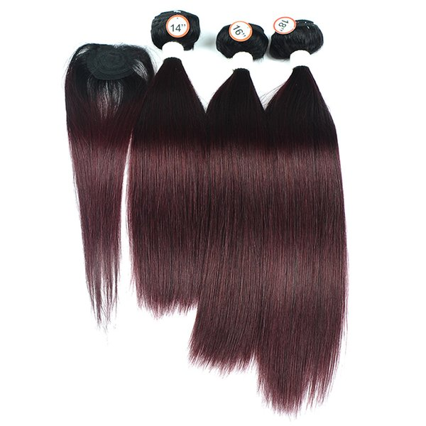 1B/99J Ombre Human Hair Weave 3 Bundles with Top Lace Closure New Hairstyle Straight Dark Red Brazilian Ombre Hair Extension 4Pcs/Lot