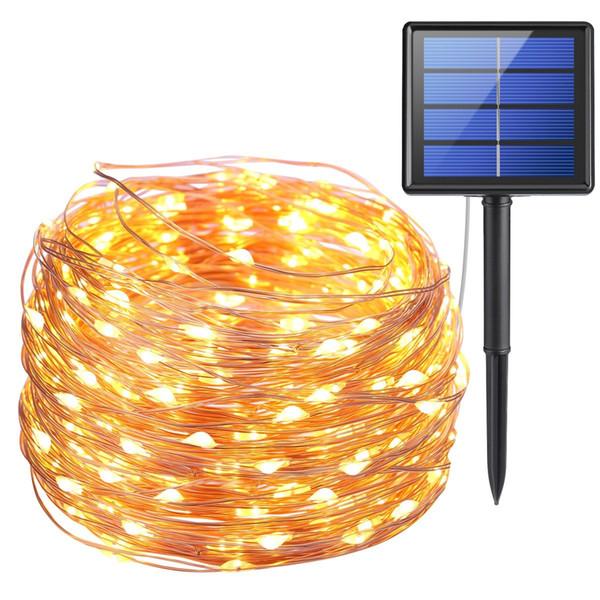 10 m 100 LED Güneş Lambaları Bakır Tel Peri Dize Patio Işıkları Açık Bahçe Noel Düğün Parti Dekorasyon için 33ft Su Geçirmez