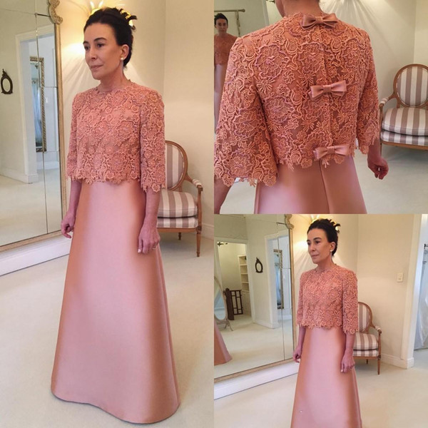 Elegant Pink A-line Mother Of The Bride Dresses with Lace Jacket Women Formal Evening Gown Wedding Guest Party Dress Custom Made