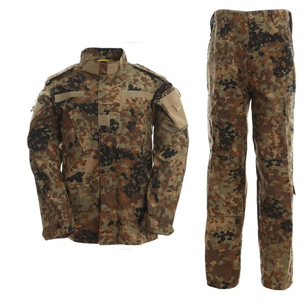 2017 New German flecktarn camo uniform camouflage suit paintball army fatigues clothing combat pants + tactical Shirt