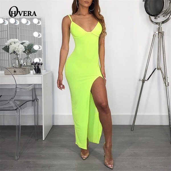0d1532c7eb377 Ohvera Kim Kardashian Synthetic Leather Dress Women Summer Party Dresses  Sexy Backless Maxi Long Halter Split Bodycon Dress 2018 Black Dress Sale  Long ...