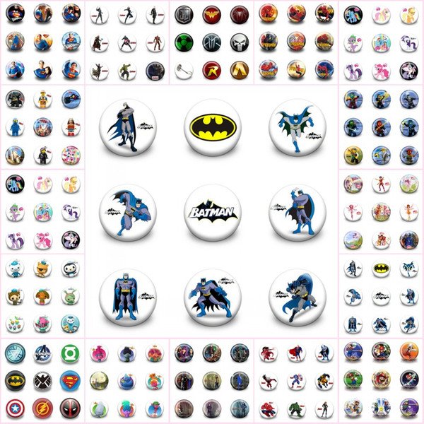 900pcs + Trolls Avenger Mario Superhero Distintivi Pin Cartoon 3.0CM Rotondo Spilla Accessori moda Bottoni Borse / Cappelli Decor Regalo del capretto Bomboniere