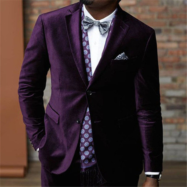 Top Vente Purple Velvet Terno Prom Hommes Costume De Mariage Custome Homme  Dernière Design Tuxedos Blazer 65710288d3b