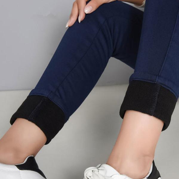 Warm for Woman Plus Size Candy Color Thick Velvet Winter Jeans Women Stretch Jeans Denim Pencil Pants