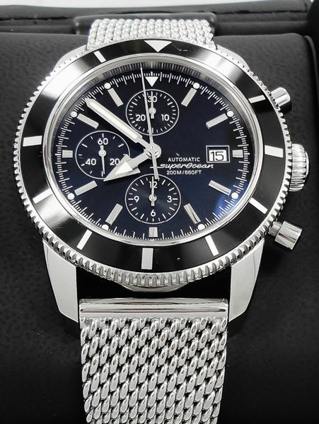 Top Quality Brand New SuperOcean Heritage 46mm chrono A1332024 Reloj de cuarzo para hombre Pulsera de acero inoxidable Negro Relojes de pulsera para hombres