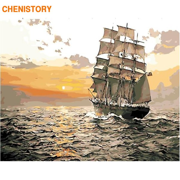 CHENISTORY Frameless Sunset Sailing DIY Painting By Numbers Kit Landscape Modern Wall Art Handpainted Unique Gift For Home Decor