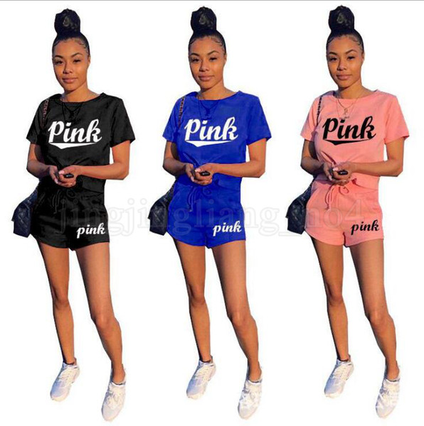 Pink Letter Tracksuit Love Pink Letter Shirt Shorts Set Body Track Suit Set Summer Sportswear Suit Gym Clothing OOA5230