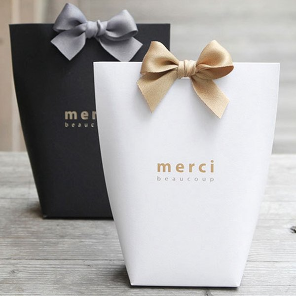 """Bronzing """"Merci"""" Candy Bag French Thank You Wedding Favors Gift Box Package Birthday Party Favor Bags 30pcs/lot"""