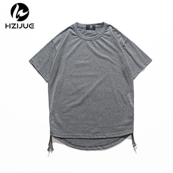 wholesale 2018 Hip Hop Loose Oversize T Shirts Men Fashion street wear Harajuku Long Side Zipper Pathcwork T-shirt Men Summer