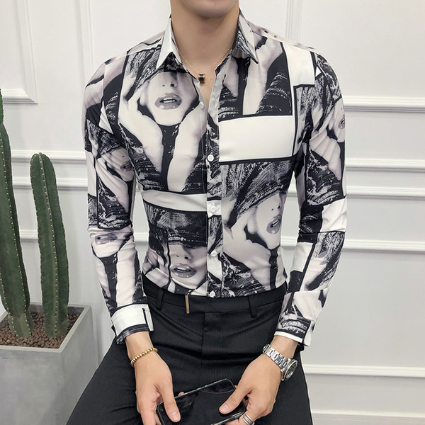 Fashion 2018 Autumn New Tuxedo Long Sleeve Slim Fit Digital Print Shirt Men Casual Single Breasted Business Prom Shirt Man 3XL-M