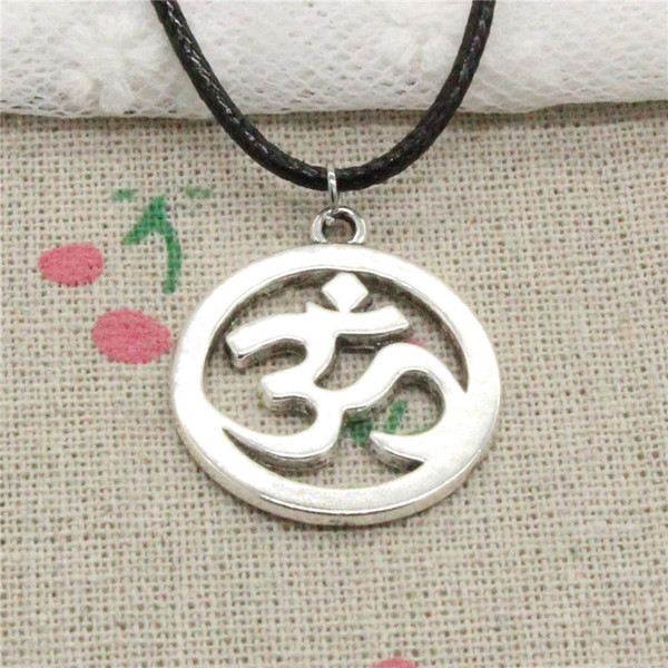 Creative Fashion Antique Silver Pendant Yoga OM 25mm Necklace Choker Charm Black Leather Cord Handmade Jewlery