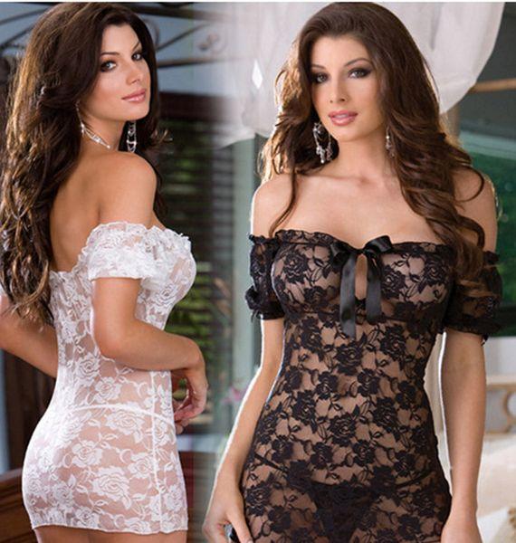 top popular Erotic underwear One word collar lace short sleeve sexy underwear temptation set Siamese clothes perspective dew Breast dress Short Sleeve 2021