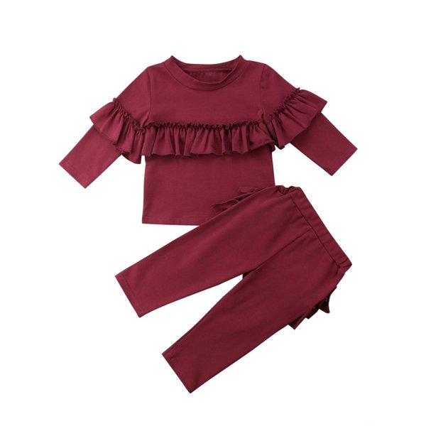 2018 New Fashion Autumn Toddler Kids Baby Girls Ruffle Cotton Tops Pants Leggings 2Pcs Red White Outfits Clothes
