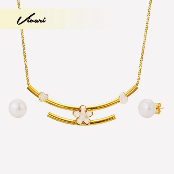 Vivari 2018 Fashion Elegant Jewelry Set Necklace Women Display Pearl Earrings For Women Steel Pipe Gold Color Flowers Decoration