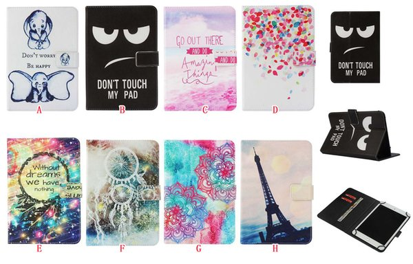 Universal Cartoon Leather Wallet Case For 7 inch 10 inch Tablet Samsung Galaxy Tab iPad Tablet PC Tower Elephant Love Flower Mandala Cover