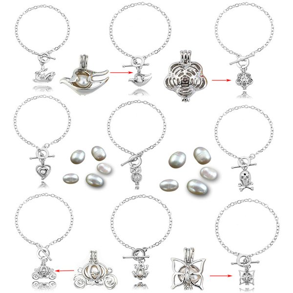 Perle Oyster Charm Armbänder Silber Perle Käfig Anhänger Ätherische Öle Diffusor Medaillon Armband Elegante Frauen Schmuck