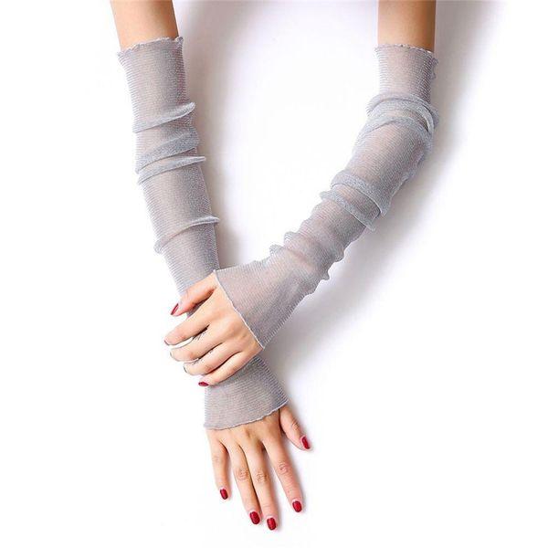 Color Random Long Leg Anti-UV Women Covers Ultra Chic Arm Thin Muti-purpose Sunscreen Girl Arm Lace Silk Gloves Summer