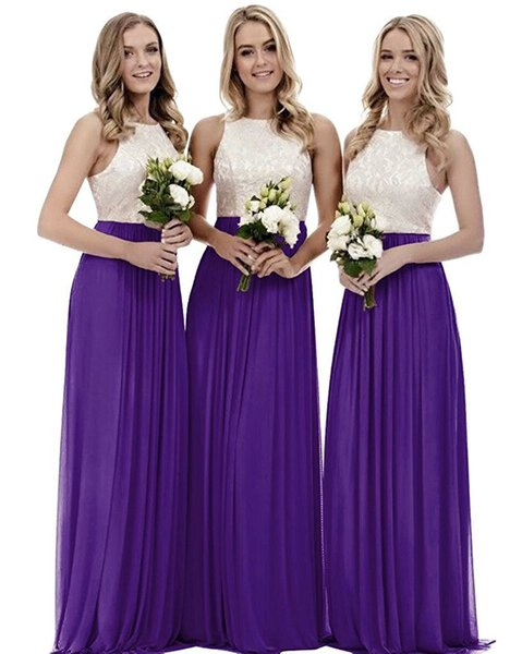 Halter Neck Chiffon Long Bridesmaid Dresses with Lace Top 2019 Floor Length Party Dresses Backless Purple