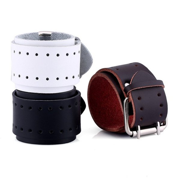 New Fashion Hollowed-out Simple Design Wide Black Leather Bracelet Punk Cowhide Leather Wristband Double Pin Buckle Jewelry Accessories Gift
