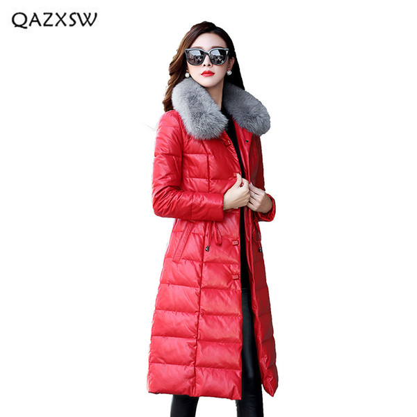 QAZXSW Women Clothes 2018 Winter New Genuine Leather Down Jacket Long Single-breasted Outerwear Fox Fur Collar Fur Coats LD109