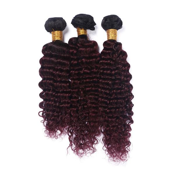 Brazilian Wine Red Ombre Human Hair Weave Bundles Deep Wave 3Pcs Dark Root #1B/99J Burgundy Ombre Virgin Remy Human Hair Extensions