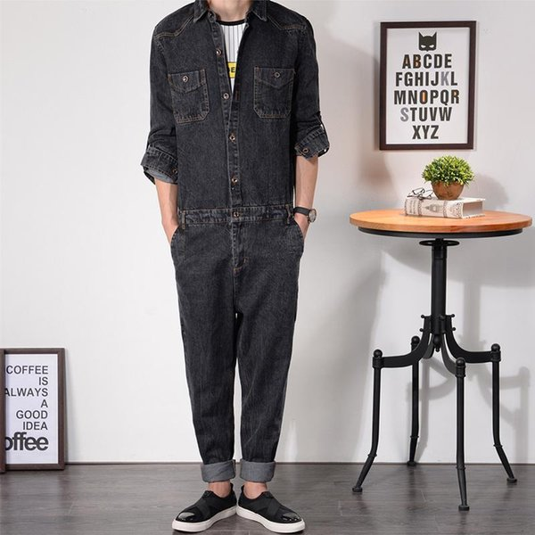 Wholesale-Mens Denim Jumpsuit Overalls Full Sleeve Loose Fit Bootcut Hip-Pop Jeans Zipper Hip Casual Pants Jumpsuits Working Clothes MDB03