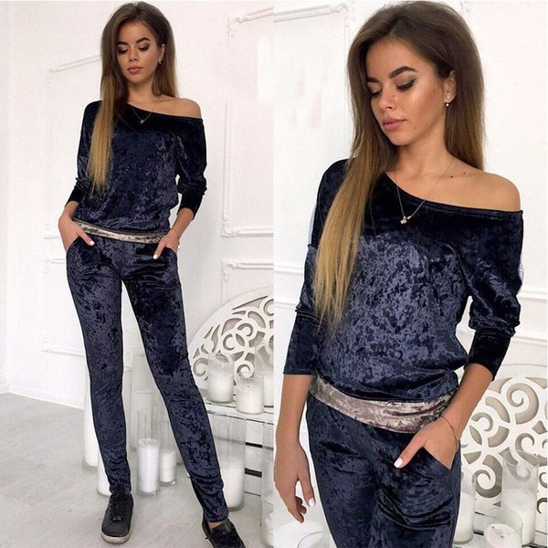 2017 Winter Jumpsuit Women Sets Velvet Track Suits Sweatsuit With Long Sleeve Bodycon Slash Neck Womens Clothing Two Piece Sweat Suits