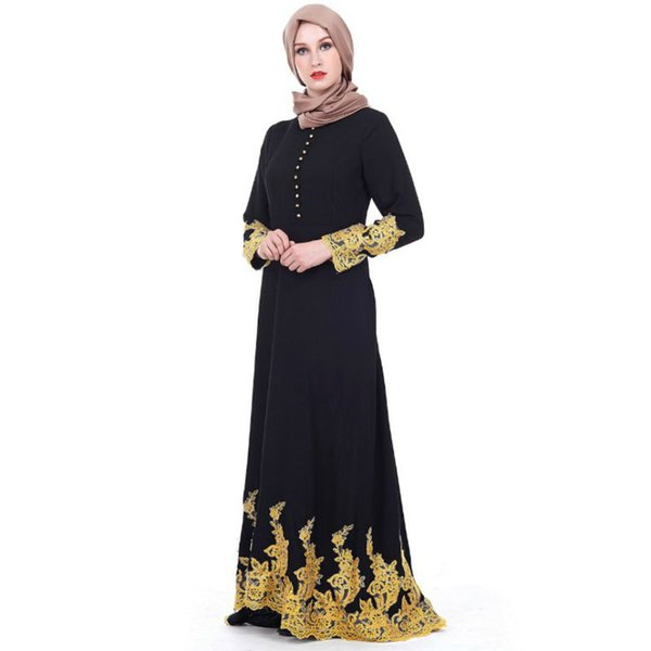 New saudi turkish court women muslim dress black lace long sleeves abaya islamic spring autumn maxi dresses womens gown rober