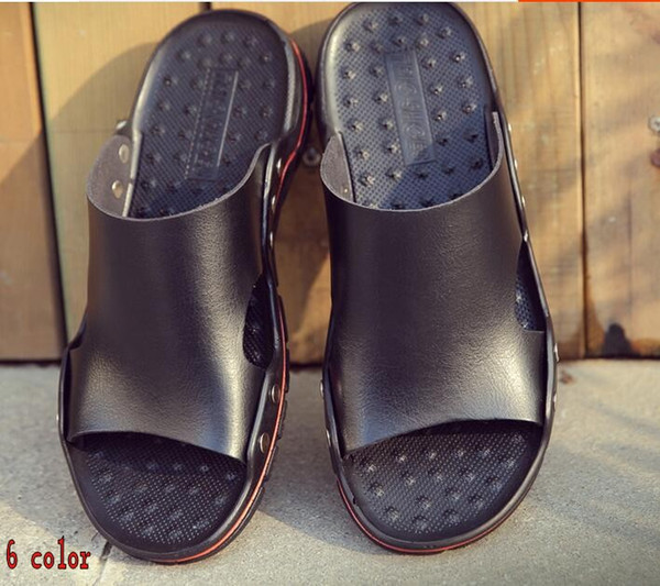 Small cowhide slippers, male one word drag summer genuine leather personality moistureproof soft bottom outdoor leisure cool drag h84