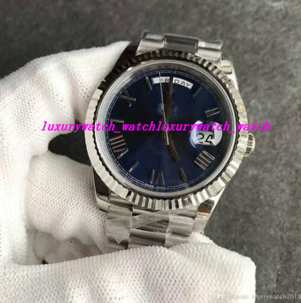 New Luxury Watches Automatic movement sapphire glass blue face Stainless original strap hot sale rome Sweep Men's Wristwatch