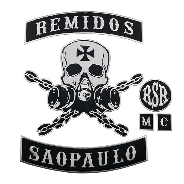 HOT SALE REMIDOS SAO PAULO SKULL MOTORCYCLE CLUB VEST OUTLAW BIKER MC JACKET PUNK LARGE BACK PATCH COOLEST IRON ON WEST PATCH FREE SHIPPING