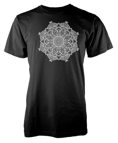 Círculo de la paz estilo del tatuaje de la mandala adultos camiseta hombres divertido O cuello manga corta de algodón camiseta hombres Unisex nueva moda camiseta