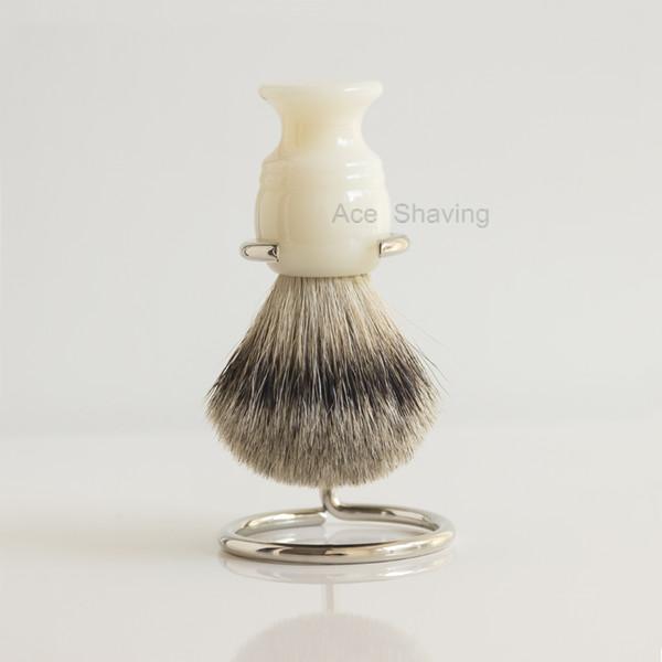 Natrual Best Badger Hair White Resin Handle Shaving Brush Man Face Beard Shaver Stand Holder